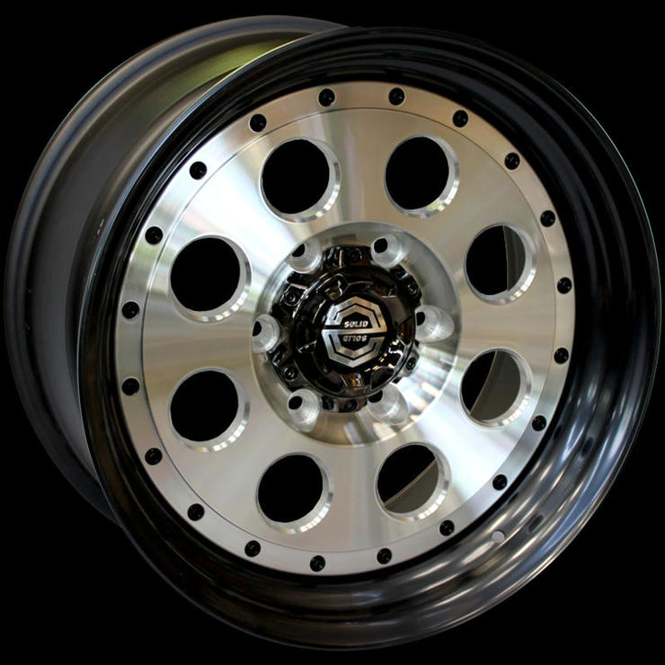 size:17x8.0 139.7/6H ±0disk color:POLISHrim color:SOLID BLACKnote:Center Cap B1note:リム特注カラー
