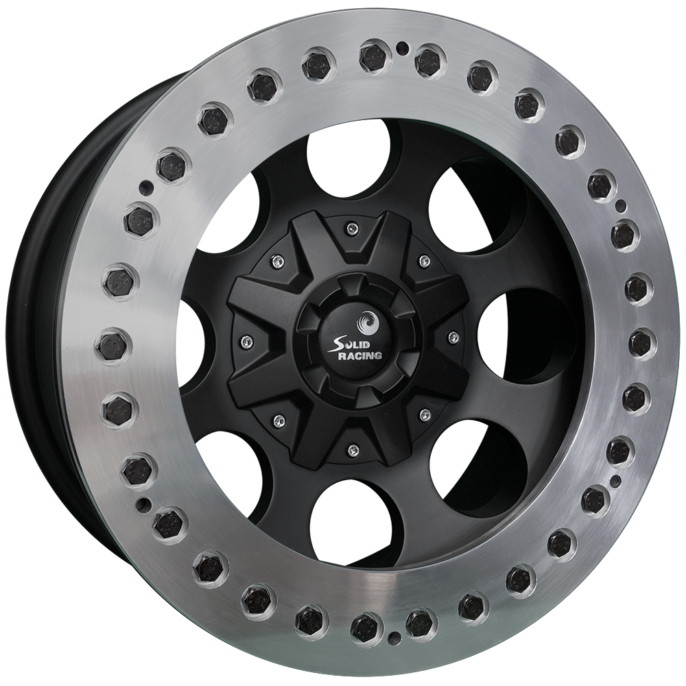 <br>size:17x9.0 139.7/6H -38<br>wheel color:SOLID BLACK<br>ring color:CUT FINISH<br>note:レースリング<br>ブラックボルト<br>Center Cap C1<br>旧バージョン<br>