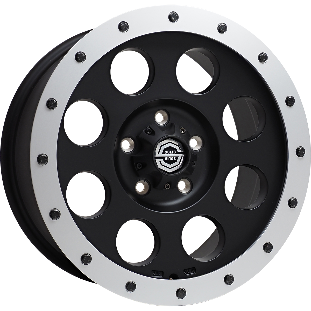 <br>size:17x8.0 127/5H +40<br>wheel color:SOLID BLACK<br>ring color:SOLID SILVER<br>note:アルミリング付<br>note:ブラックボルト<br>